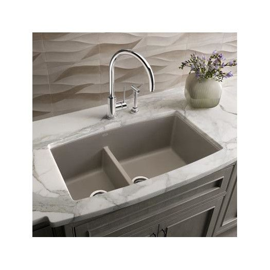 "performa 33"" x 19"" 2 basin undermount kitchen sink | gray kitchens"