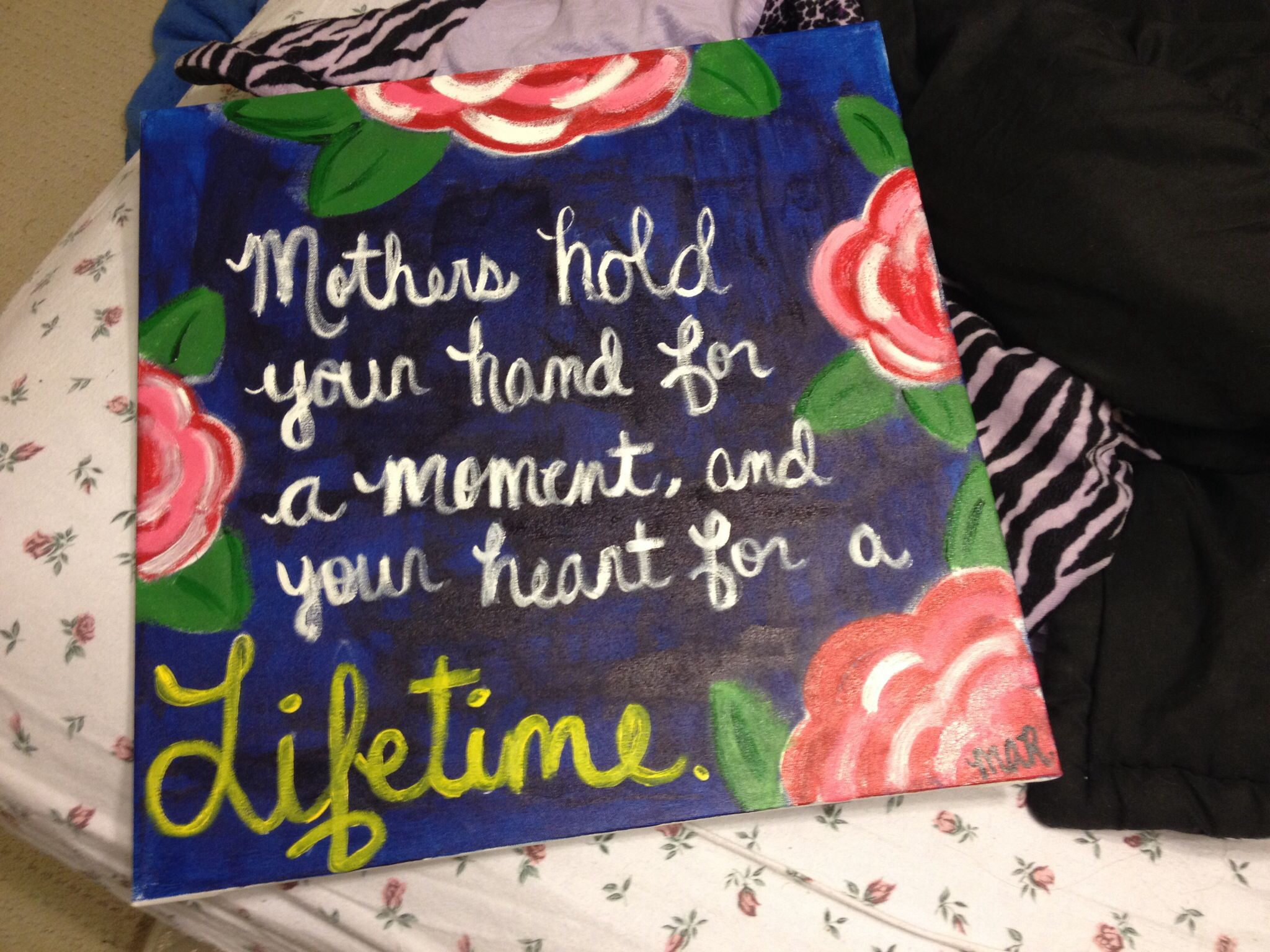 Canvas Painting For My Moms Birthday With Images Crafty Craft
