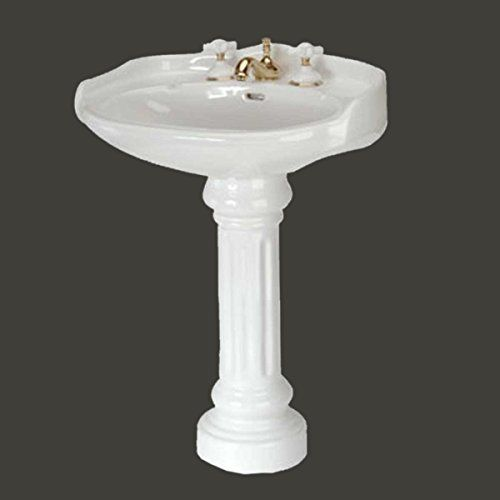 Windsor Off White Vitreous China Pedestal Sink 8 Spread Faucet Self Draining Soap