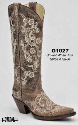 05c69ade4a3 Cowgirl Boot · Western Boot · Rivertrail Mercantile - Corral Brown White  Full Stitch and Studs G1027