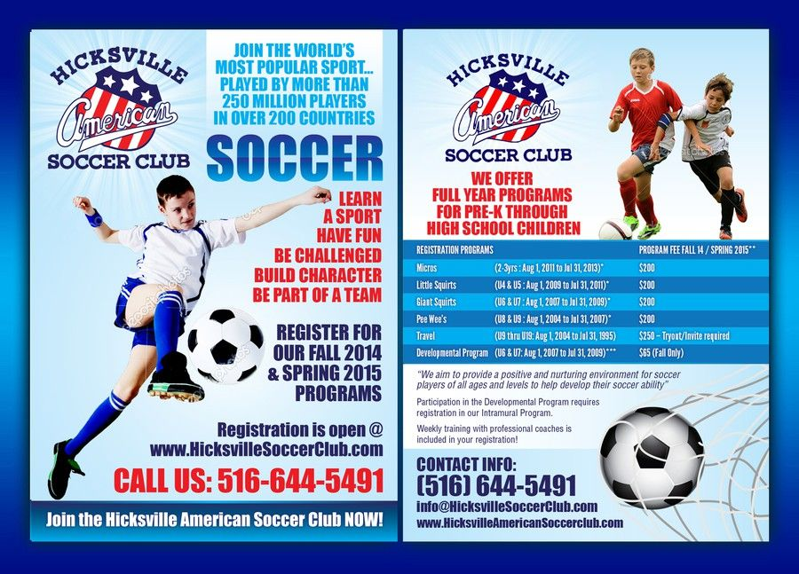 Create a catchy flyer for youth soccer club! Fun and creative! by