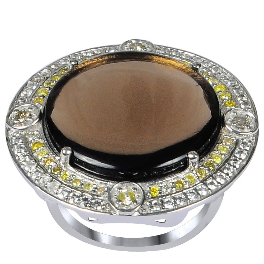 Orchid Jewelry One of A Kind 925 Sterling Silver Ring 14.92ct TGW Genuine Smoky Quartz Diamond Citrine & White Topaz