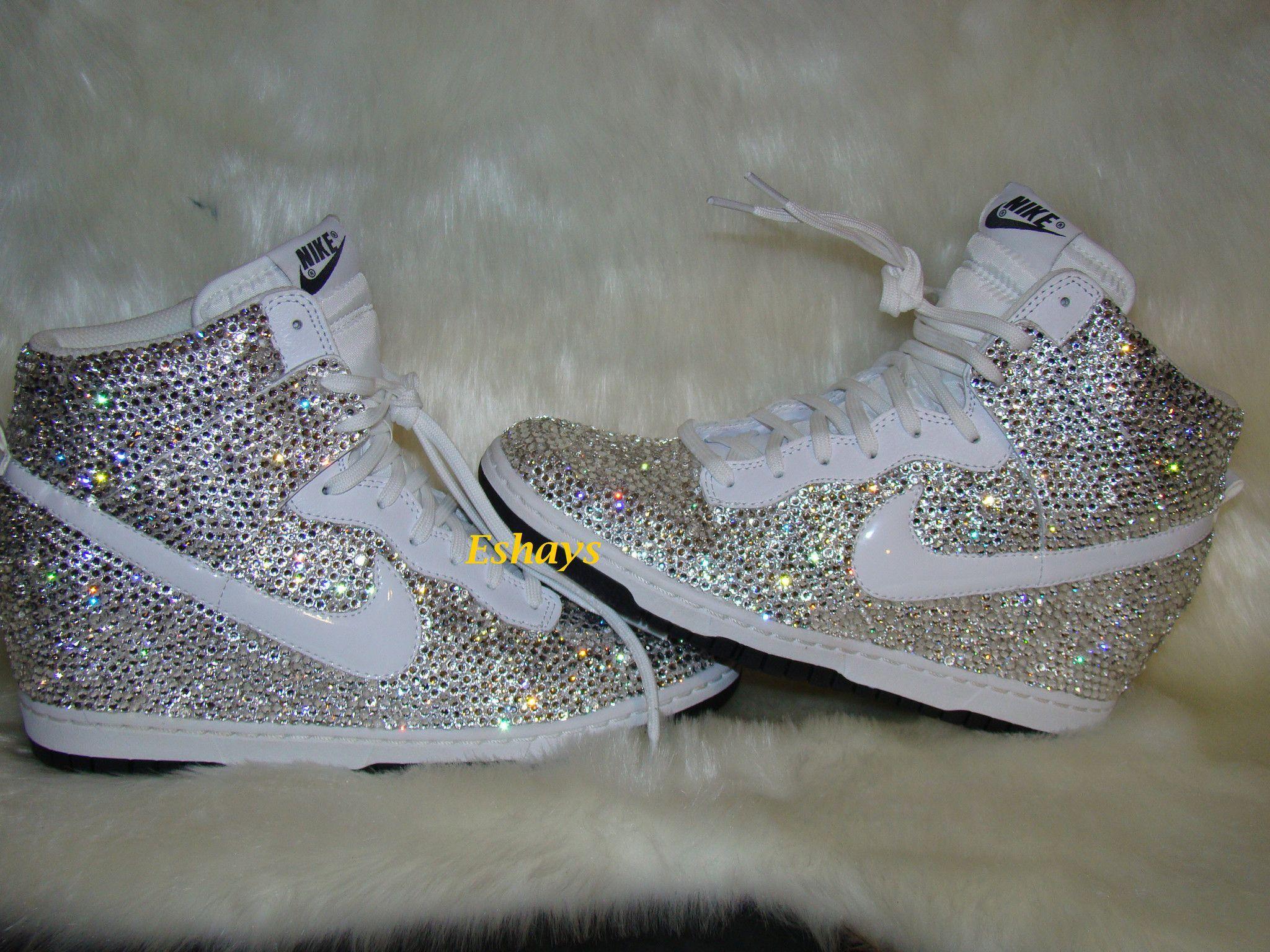 Custom Fully Covered Clear Rhinestone White Nike Dunk Sky Hi Wedge Sneakers 6d10b7a5df9e