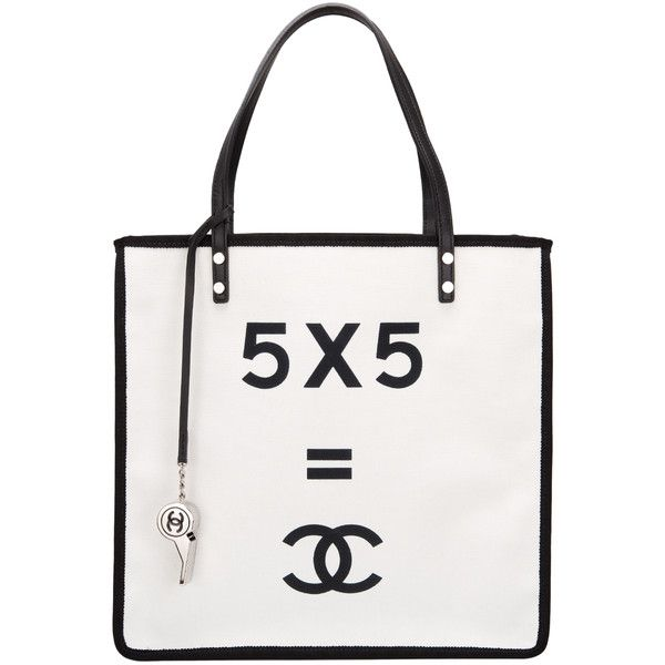 Pre Owned Chanel Demonstrate 5 X Cc Small Ping Tote Found On Polyvore Featuring Bags Handbags Bolsas White