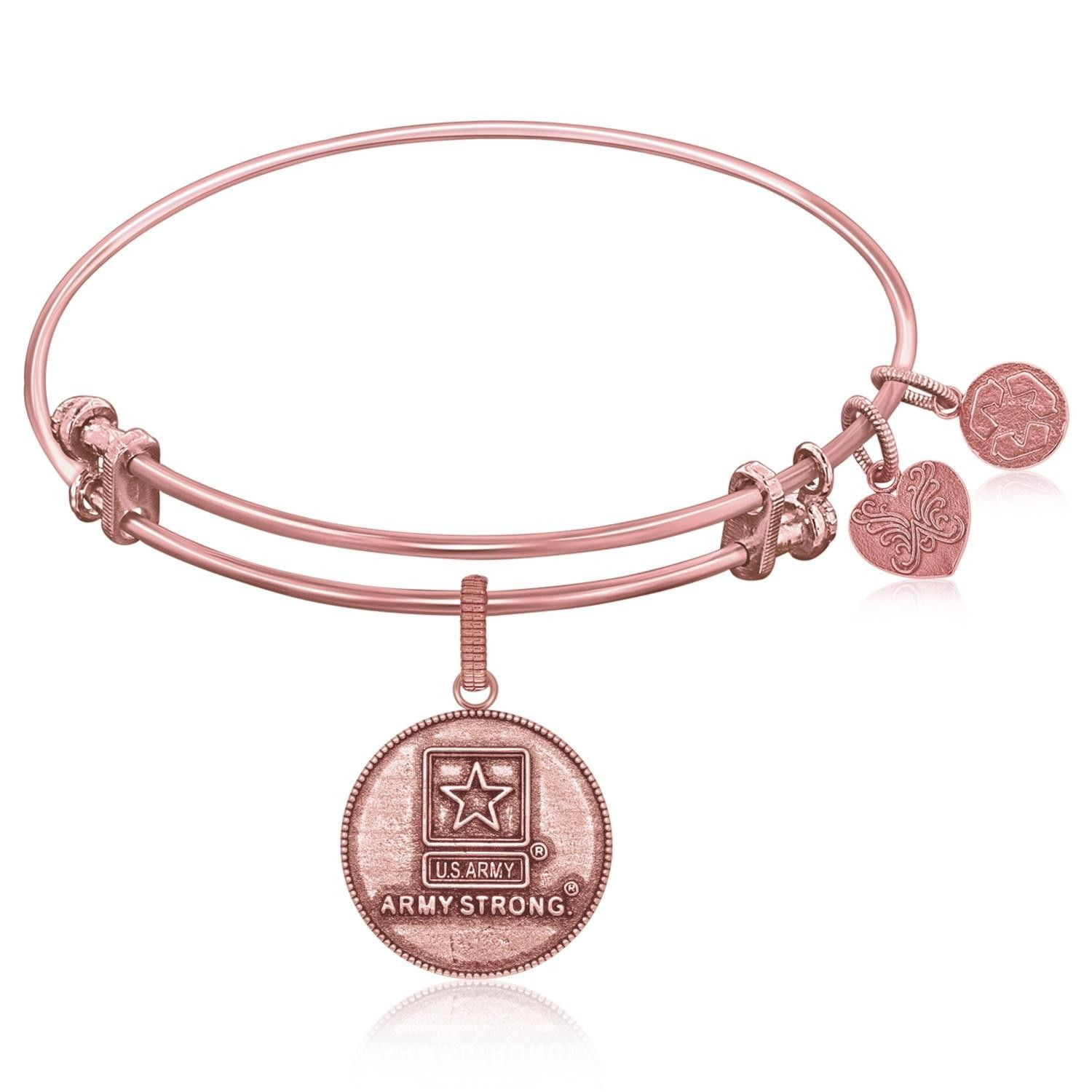 Expandable Bangle in Pink Tone Brass with U.S. Army Strong Symbol