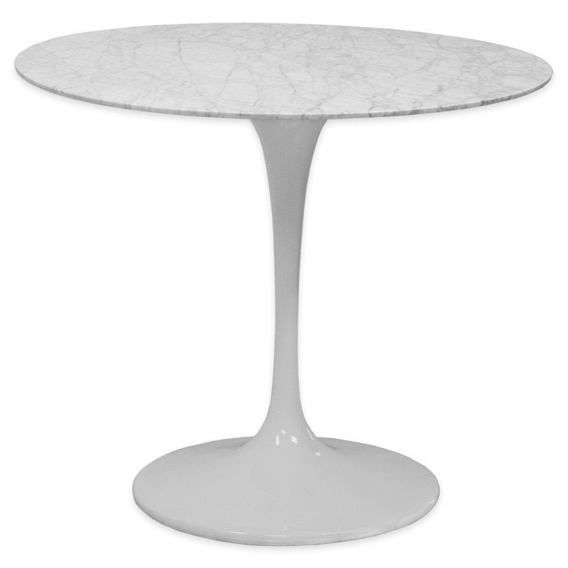 Mod Made White Lily Round Marble Dining Table With Aluminum Silver Base 35 Inch