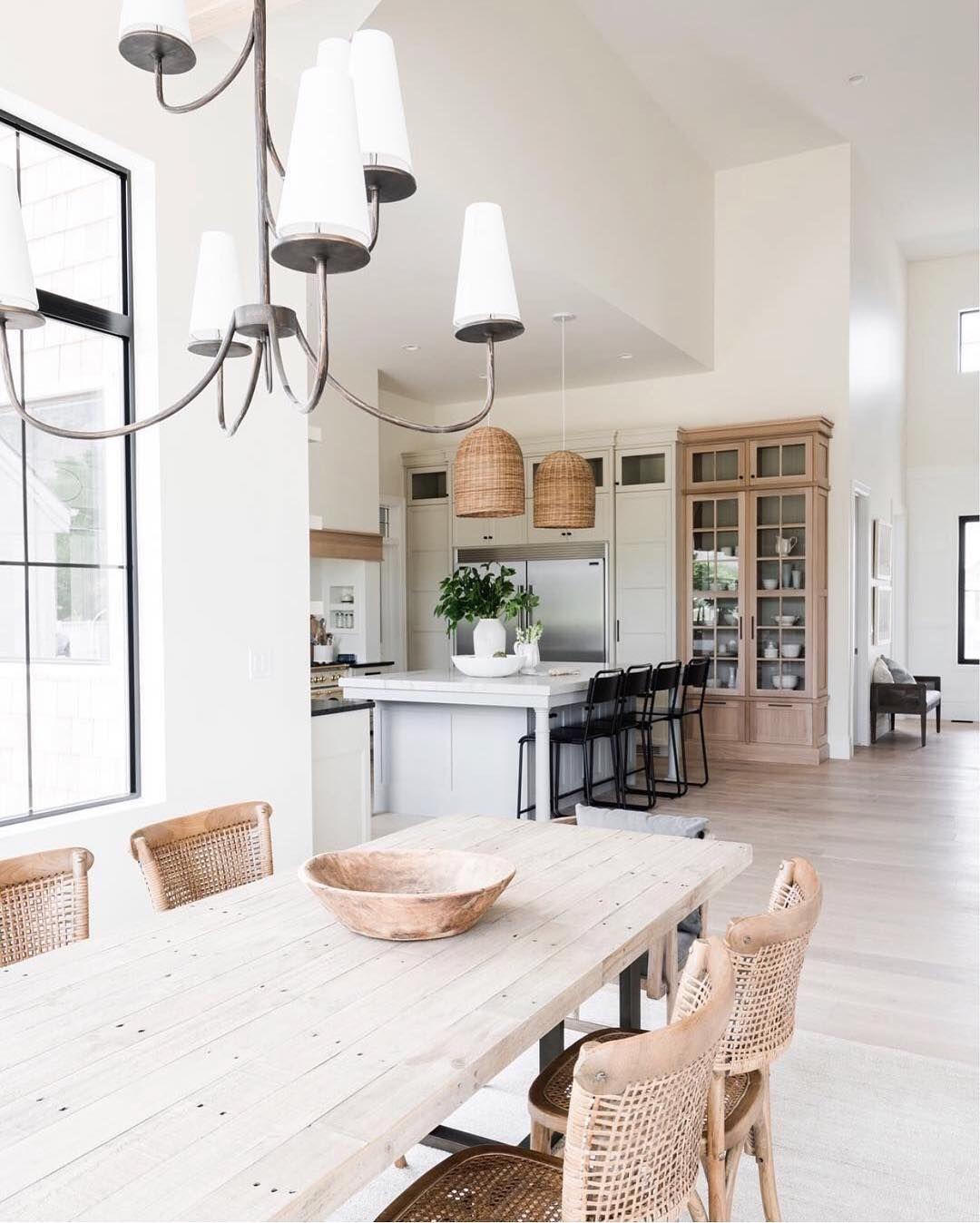 Idée décoration cuisine ouverte blanche et bois clair - moderne et ...