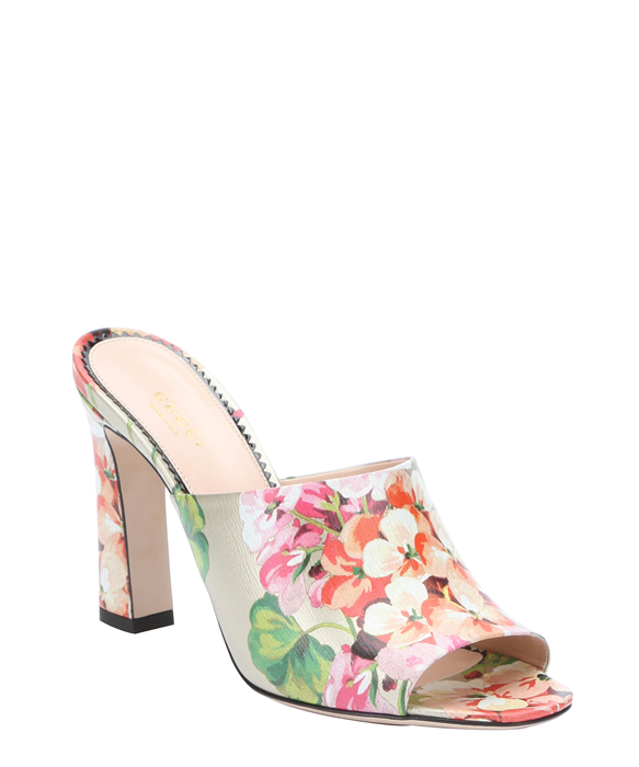 gold and pink floral print leather 'Shangai' mules