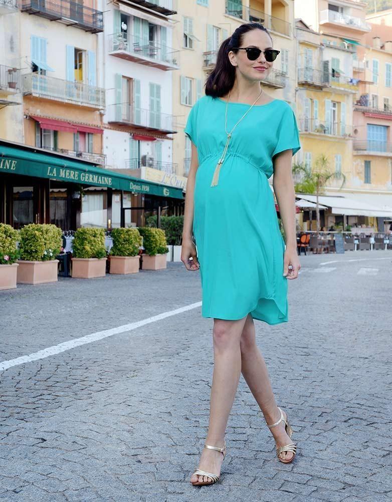 Turquoise Drawstring Maternity Dress | Maternity fashion ...