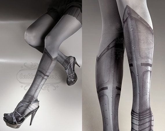 Tattoo Tights - Warrior Princess asphalt one size full length printed tights closed toe pantyhose, tattoo socks, tattoo tights