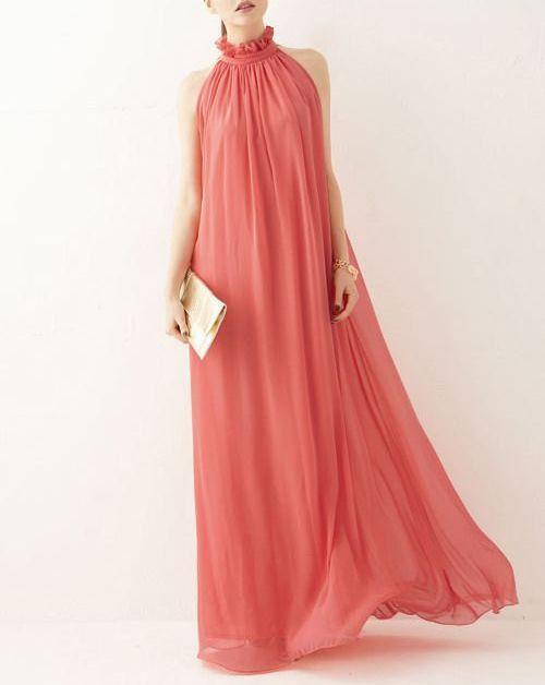 Wassermelone Chiffon Maxi Kleid Kleid lange von originalstyleshop ...