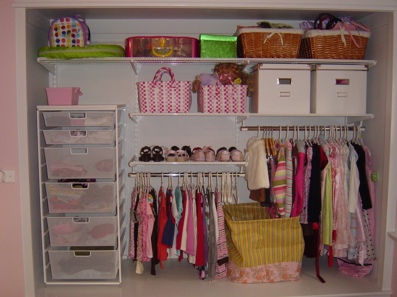 Here is another closet idea if your space is large enough and especially if your little girl has longer dresses to hang. You could even add another shoe ... : another closet storage  - Aquiesqueretaro.Com