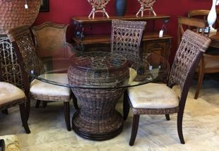 tommy bahama style tropical dining set woven round with