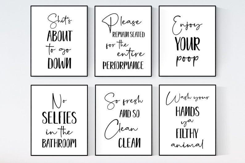 Bathroom Wall Decor Funny Bathroom Signs Bathroom Wall Art Etsy Bathroom Wall Art Bathroom Wall Art Printables Funny Bathroom Signs