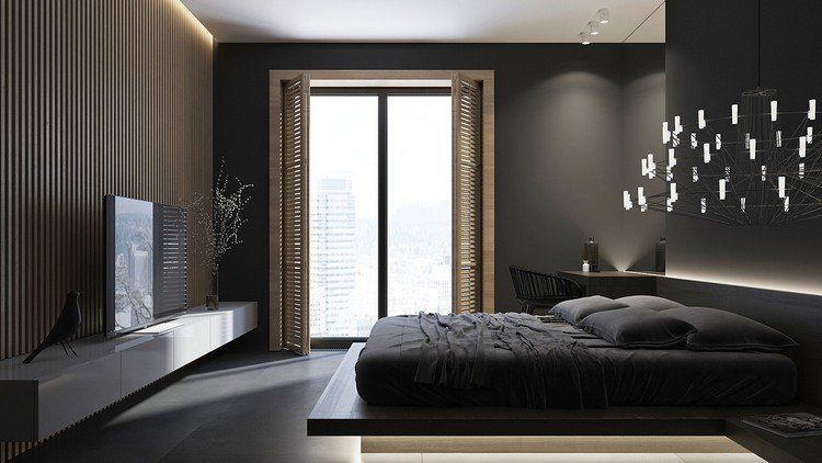 Peinture noir mat et parement en bois massif dans 4 intérieurs design - peindre un lit en bois