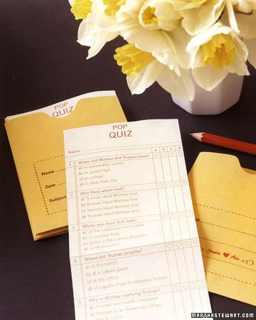 Bridal Shower Activity Couples Quiz Wedding Wedding Bridal