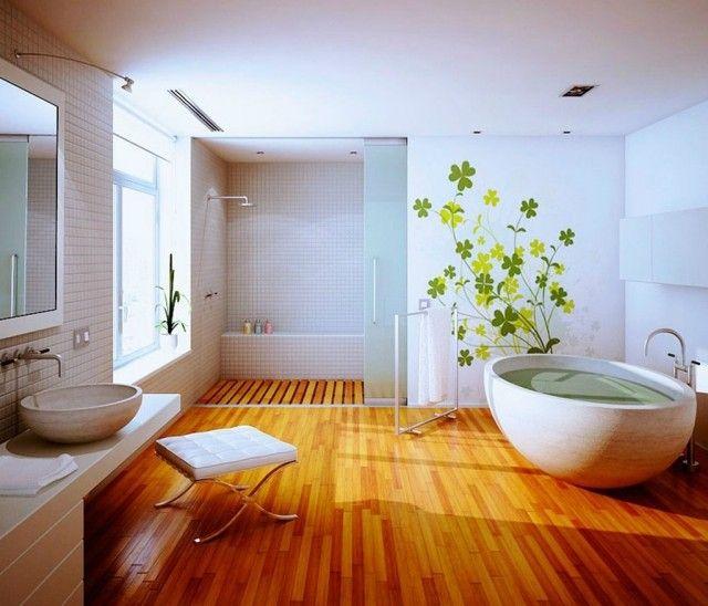 un revtement de sol pvc effet bois dans la salle de bain spacieuse - Revetement Mural En Pvc Pour Salle De Bain