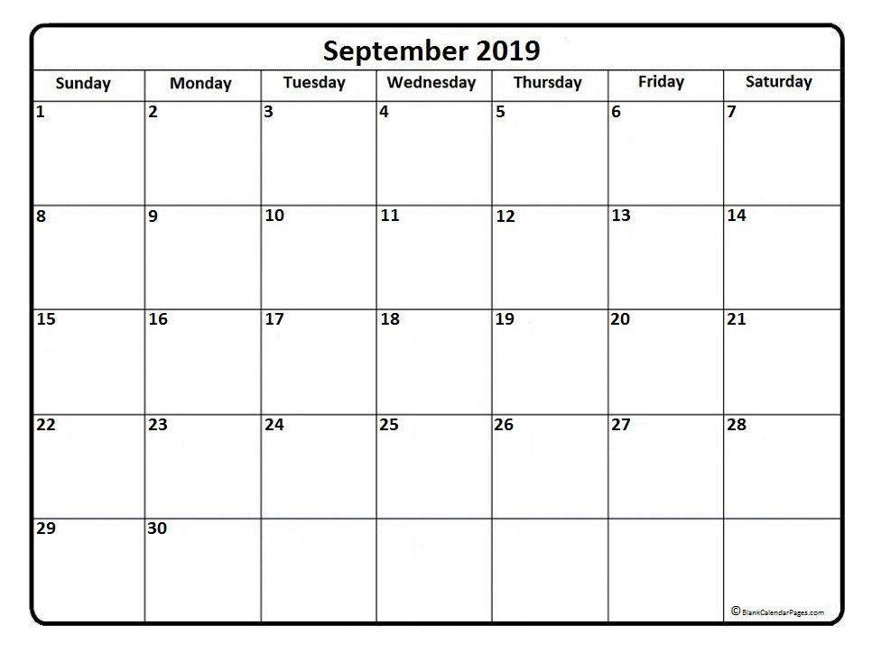 September 2019 Calendar Pdf Printable Templates Calendar 2019