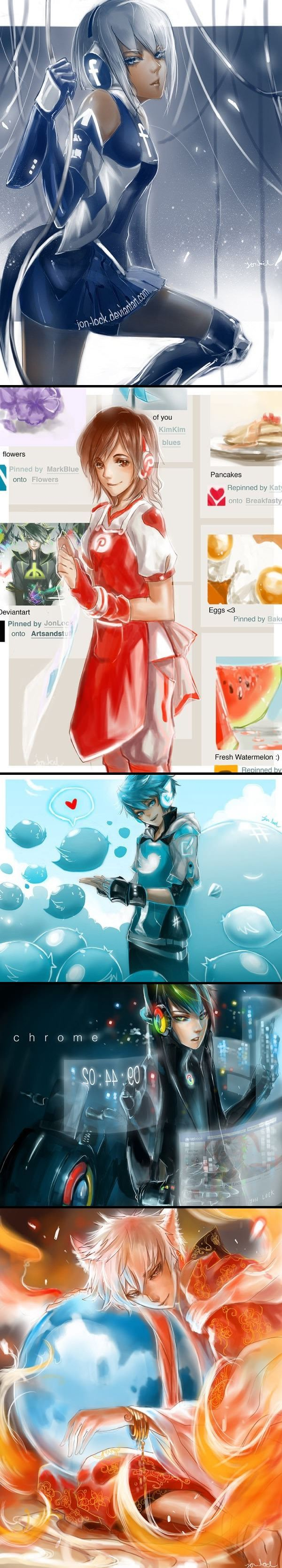 Social Media Sites and Browsers humanized!! Characters drawn by Jon-Lock on Deviantart.com