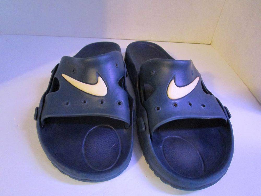 f63b9a04773 Vintage NIKE Navy   White Swoosh Flip Flops Slides Sandals Men s Size 7  Neoprene  NIKE  FlipFlops