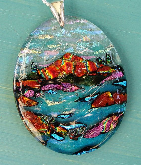 Dichroic fused glass oval mountain pendant of by ChrysalisDreams, $88.00 Sale: $78