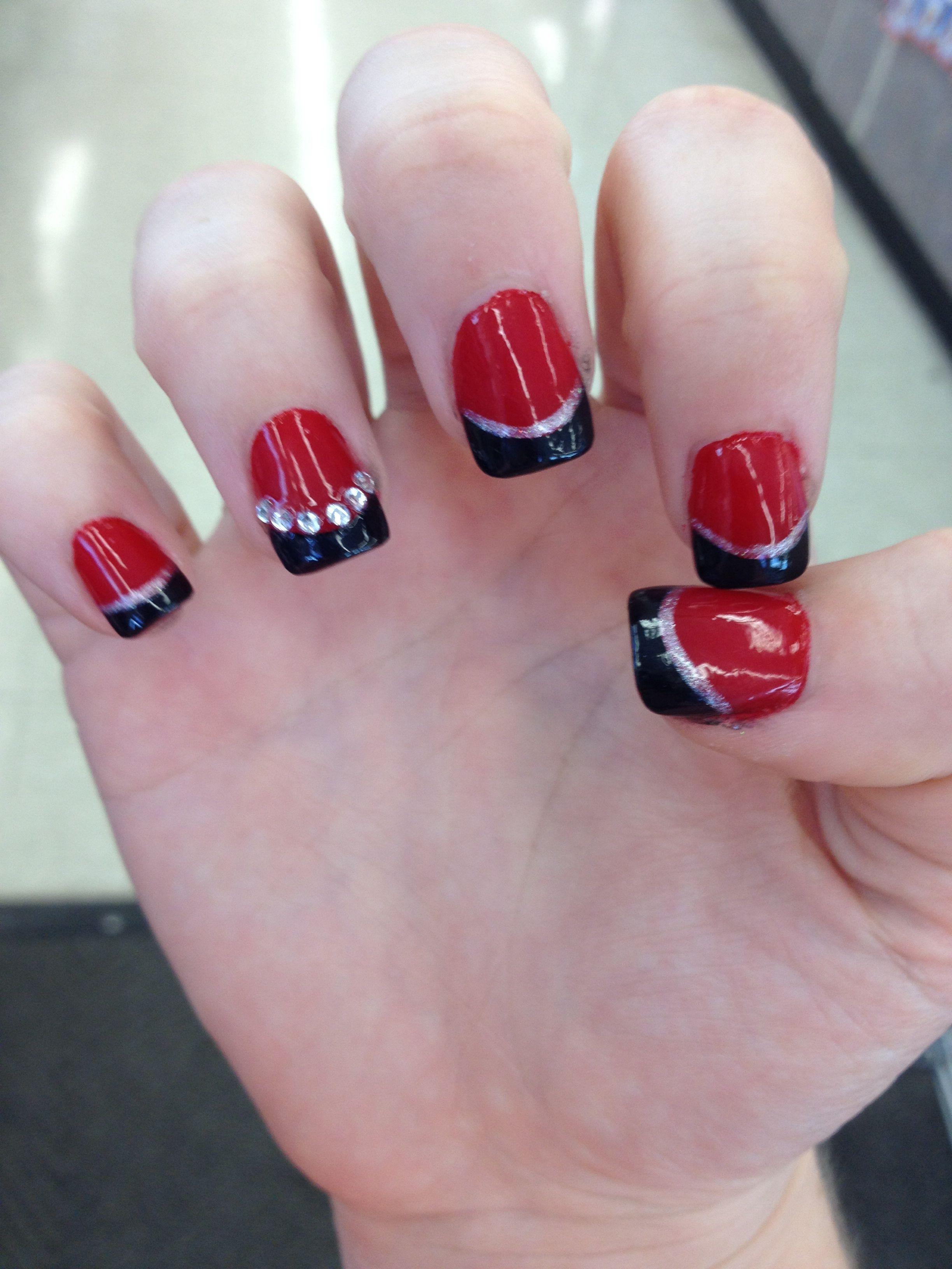Homecoming Nails Nails Red Black Silver Nails Pinterest