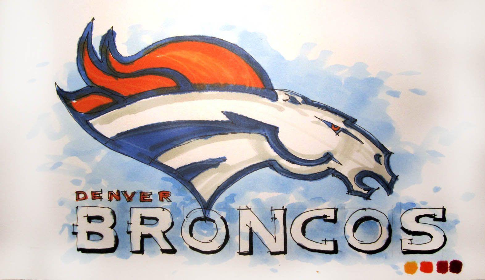 NFL Football Series: Denver Broncos Logo Time Lapse Drawing | NFL ...