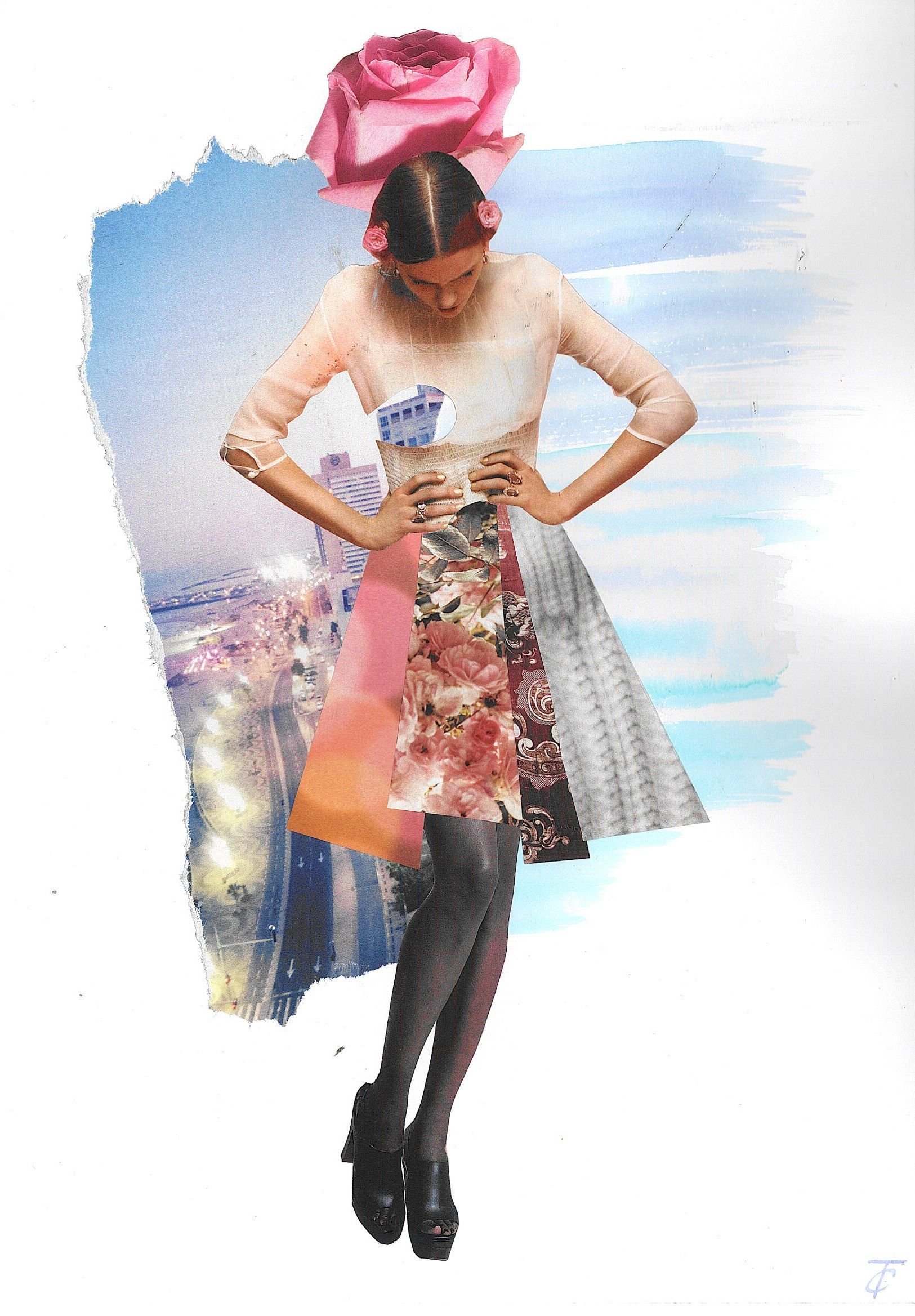 """Collage """"Sweet rose and the city"""", handmade, cut out from fashion magazines"""