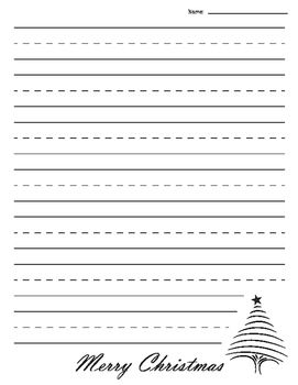 Christmas Tree Lined Paper Primary Lined Paper Christmas Tree Note Paper