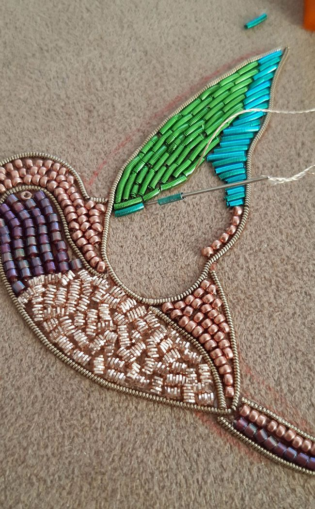 DIY Bird Brooch in Gold Embroidery with Cannetille and Jaseron by Lady Mustache – BROŞ YAPIMI