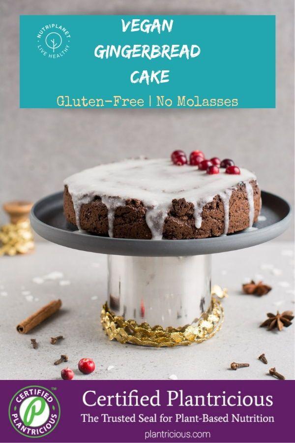 Vegan Gingerbread Cake with Icing [Gluten-Free, Su