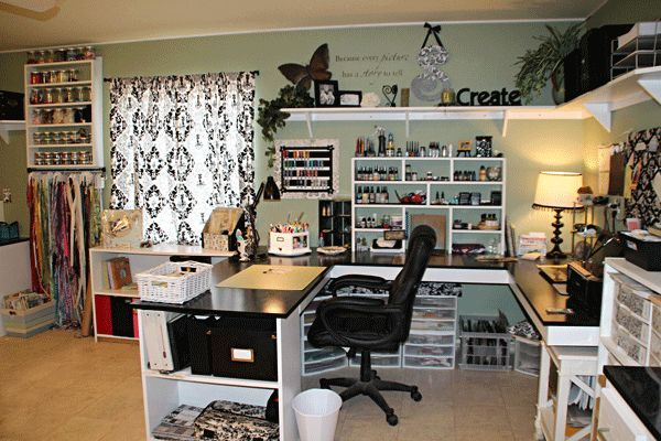 Scrapbook Room Designs | Love the U-shaped desk. | Scrapbook Room ...