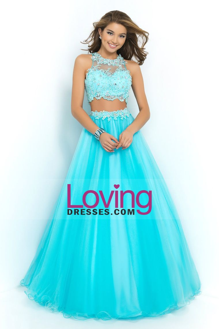 2015 Two Pieces Scoop Prom Dresses A Line With Applique And ...