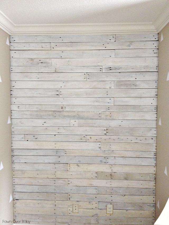 Diy White Washed Pallet Wall Pallet Wall Pallet Diy Pallet Walls
