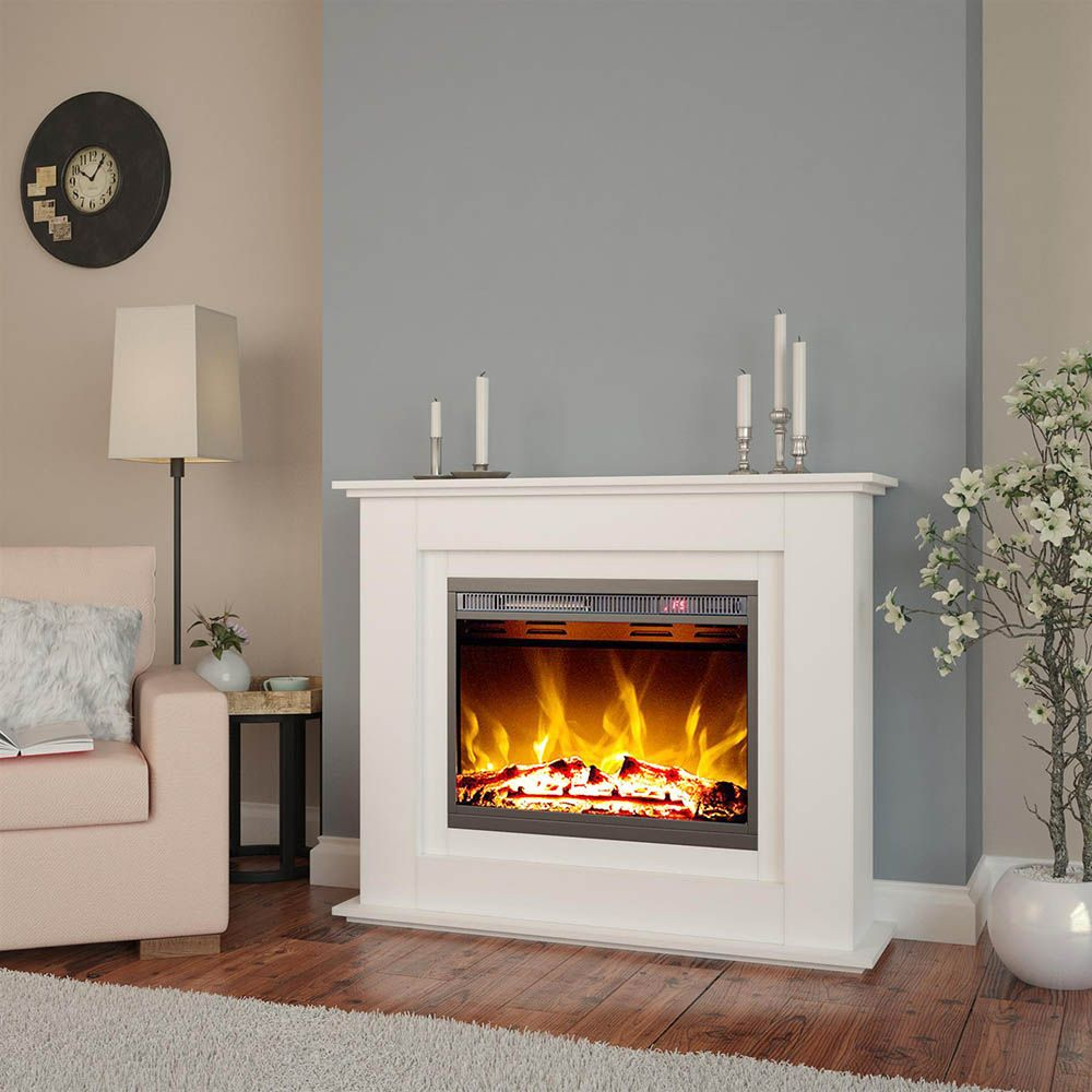 Awe Inspiring Luxo Anala 1500W Electric Fireplace Mantel Heater White Interior Design Ideas Tzicisoteloinfo