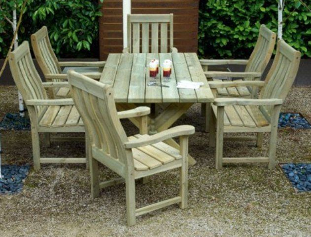 Alexander Rose Pine Farmers 6 Seater Rectangular Garden Furniture