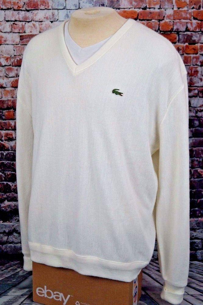 0f8527b06727c Vintage 80s Izod Lacoste V Neck Sweater Orlon Acrylic Knit Mens XL ...