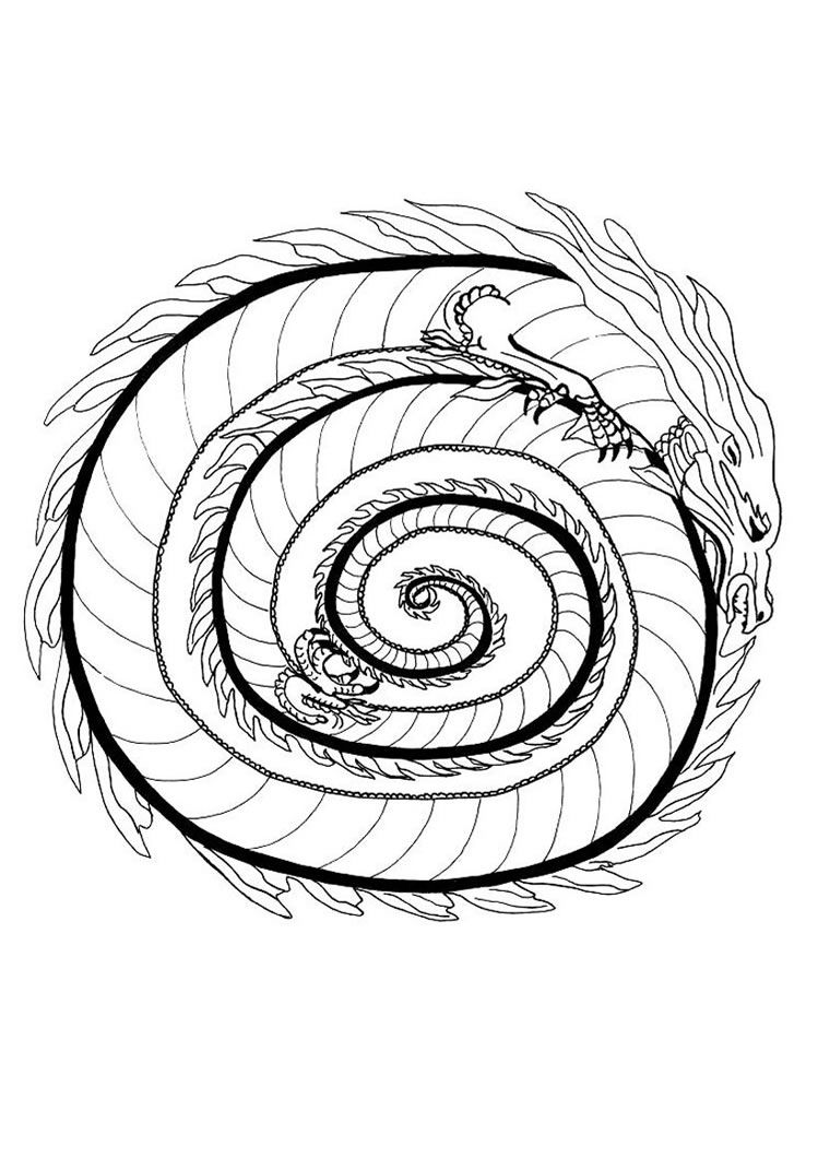 free printable mandala coloring pages fire dragon mandala