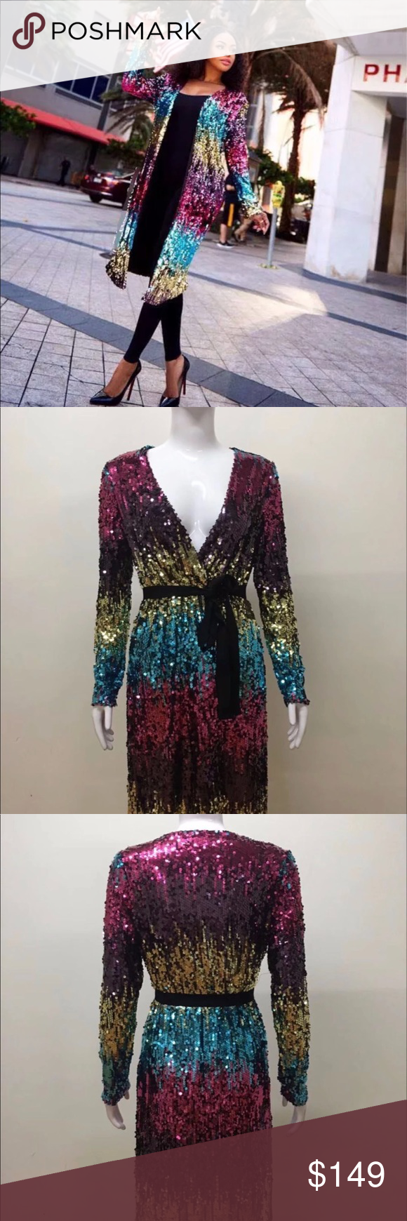 a267b07fce9 Rainbow sequin cardigan Rainbow sequin cardigan. Can be dressed up or down  Jackets   Coats