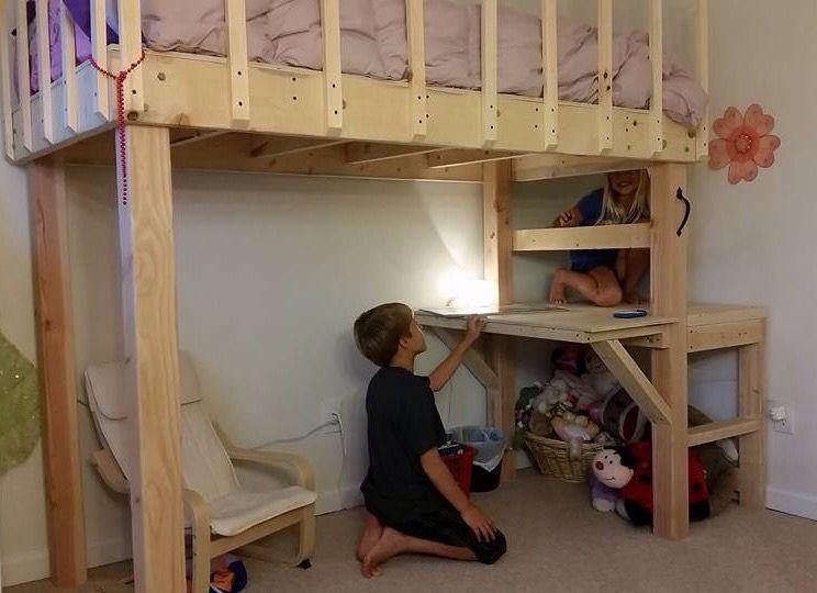 Diy Loft Bed With Desk 2x6 3 4x4 4 2x6 8 1x2 4 3 Inch Lag Bolts