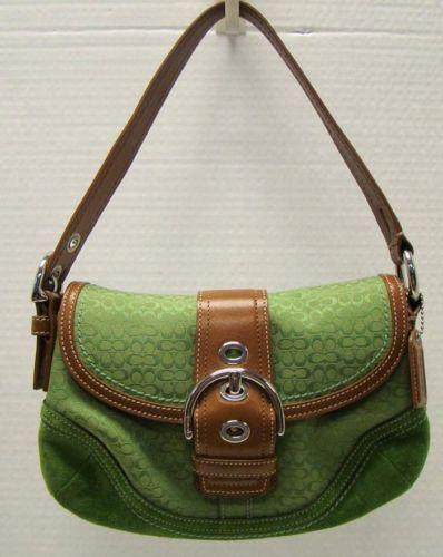 39113a7bd2 Coach F10925 Green Purse Soho Handbag Small Hobo Bag Leather Jacquard MSRP   218 Selling for  49.00