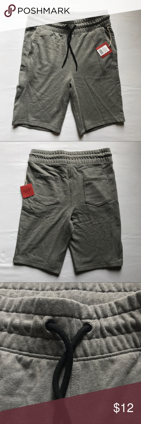 """Men Mossimo Supply Co Gray Knit Drawstring Shorts Men's Mossimo Supply Co. grey drawstring waist shorts. Great for walking or working out. Soft 60% cotton 40% Polyester. 2 Side front pockets and 2 backside pockets.  Waist: 32""""-34"""" Inseam: 10"""" Length: 21"""" Mossimo Supply Co. Shorts Athletic"""