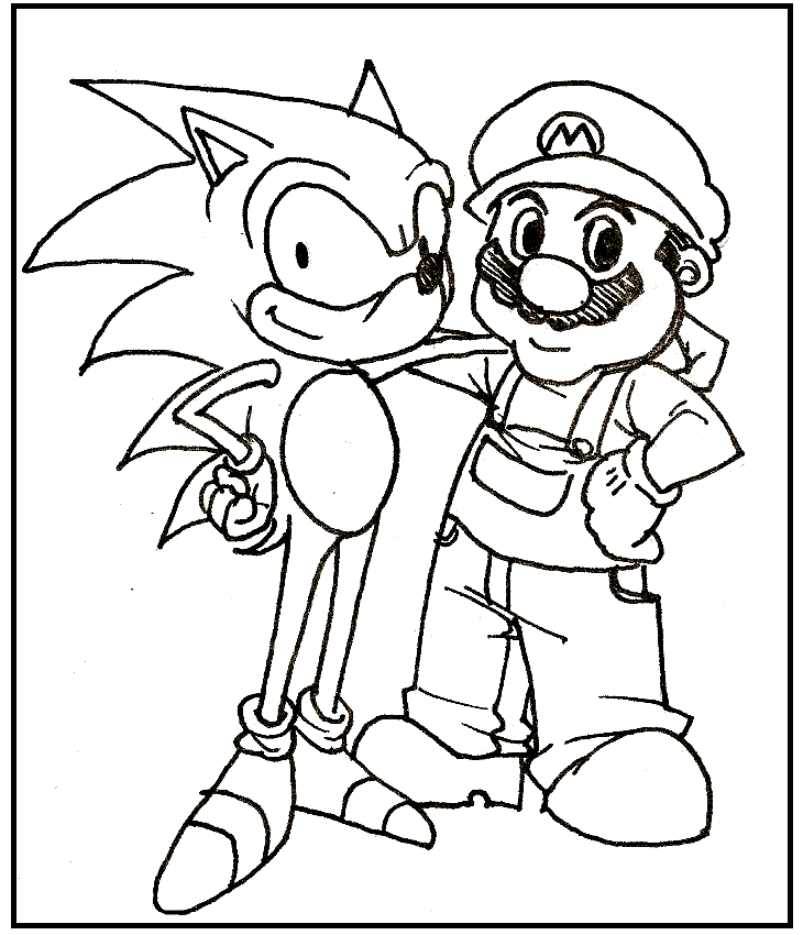 Super Mario And Sonic Coloring Picture For Kids