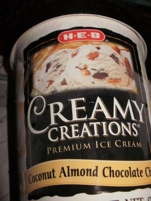 creamy creations coconut almond chocolate chunk ice cream HEB you melt my heart on this one!