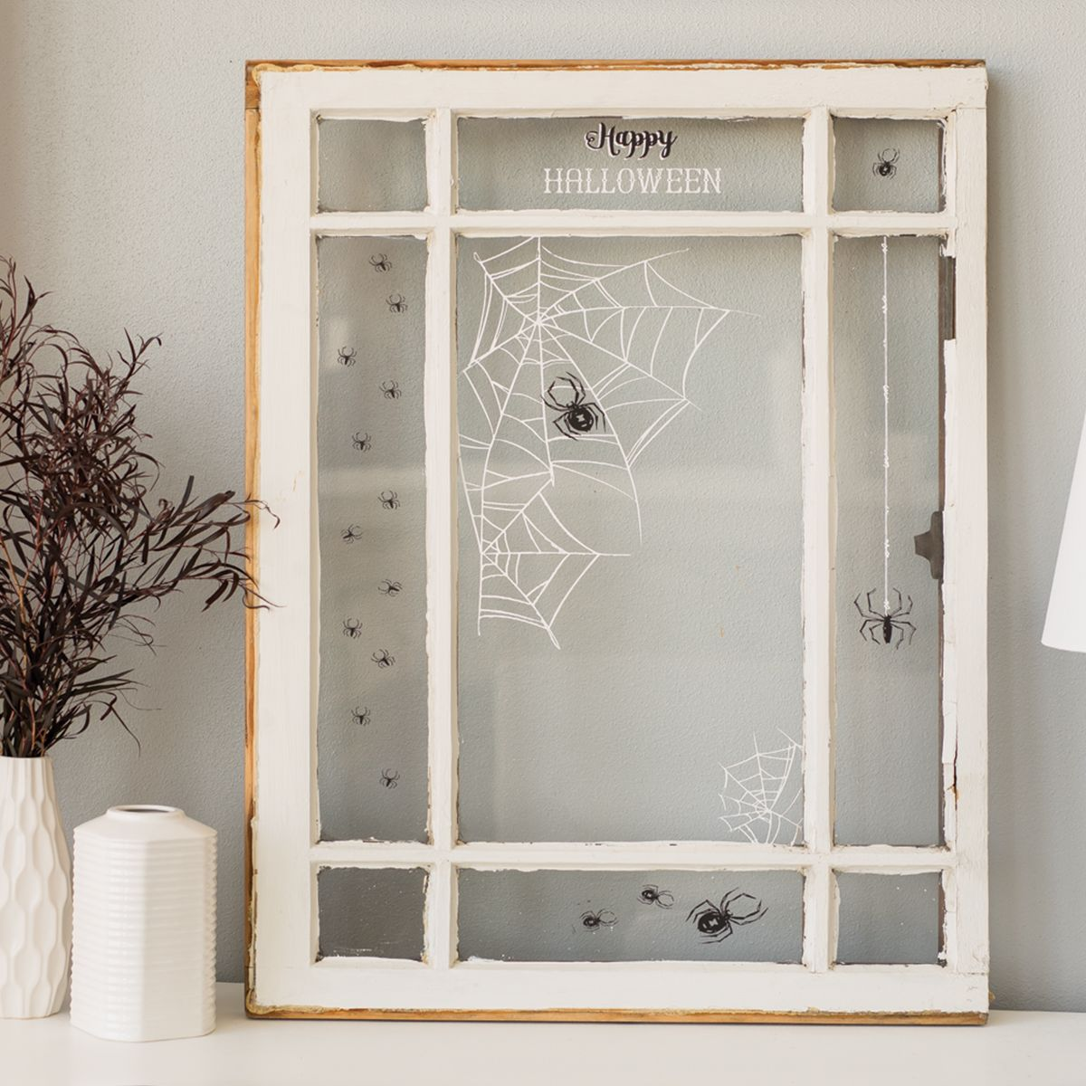 Is This Not The Spooky Sweetest What A Cute Transfer To Use On An Accent Window That S All The Rage In Farmhouse Halloween Web Painted Window Panes Window Art