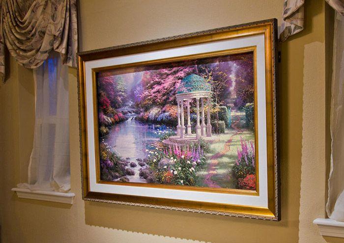 surface mounted tv frame, tv art, thomas kinkade tv frame, garden of ...