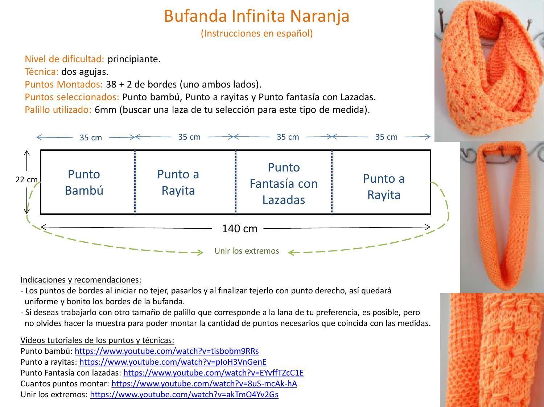 Yellow Hielo: Bufanda Infinita Naranja | tejido | Pinterest | Croché ...
