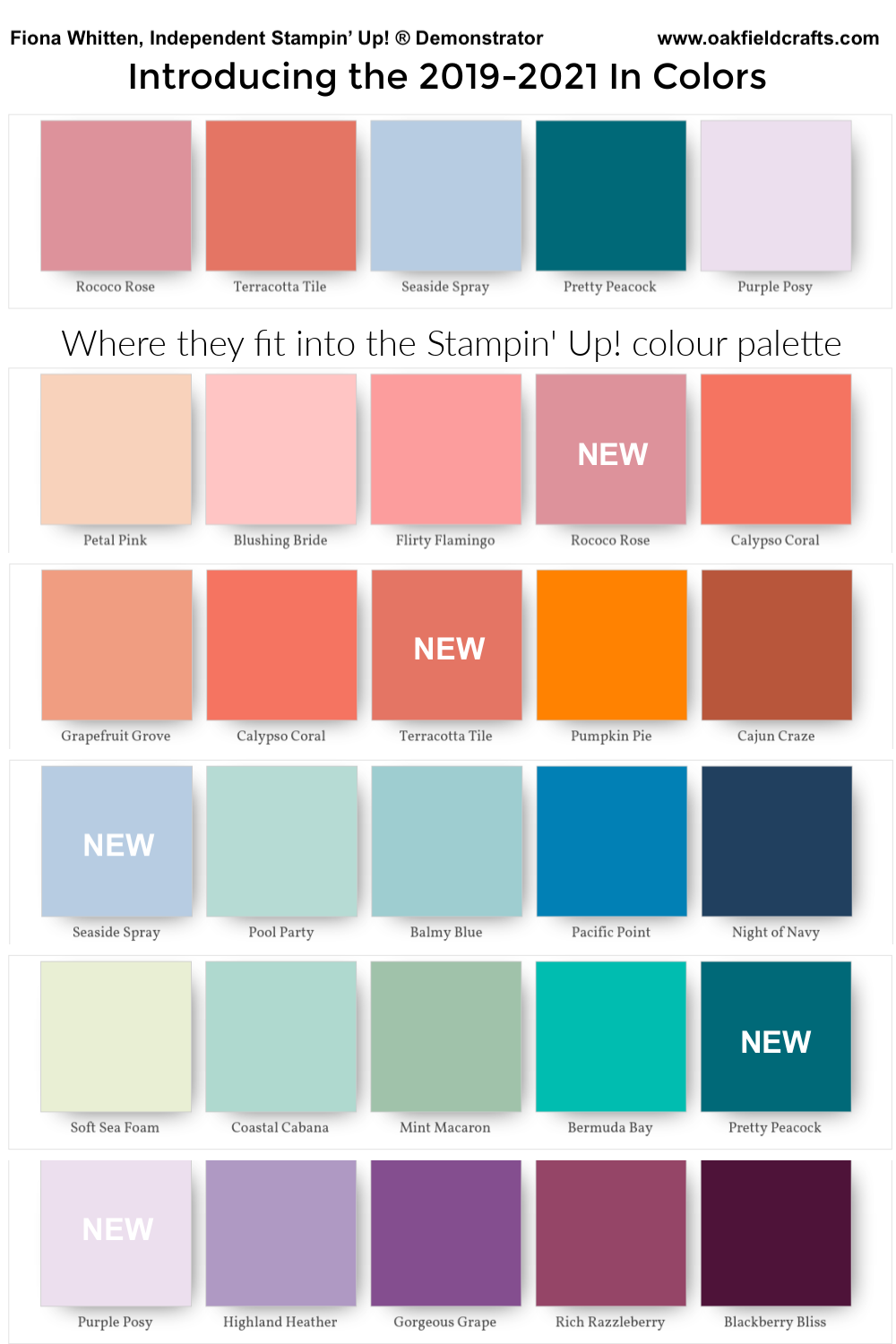 Color Palette showing 2019-2021 In Colors. Free printable available on blog. Fiona Whitten, Oakfield Crafts