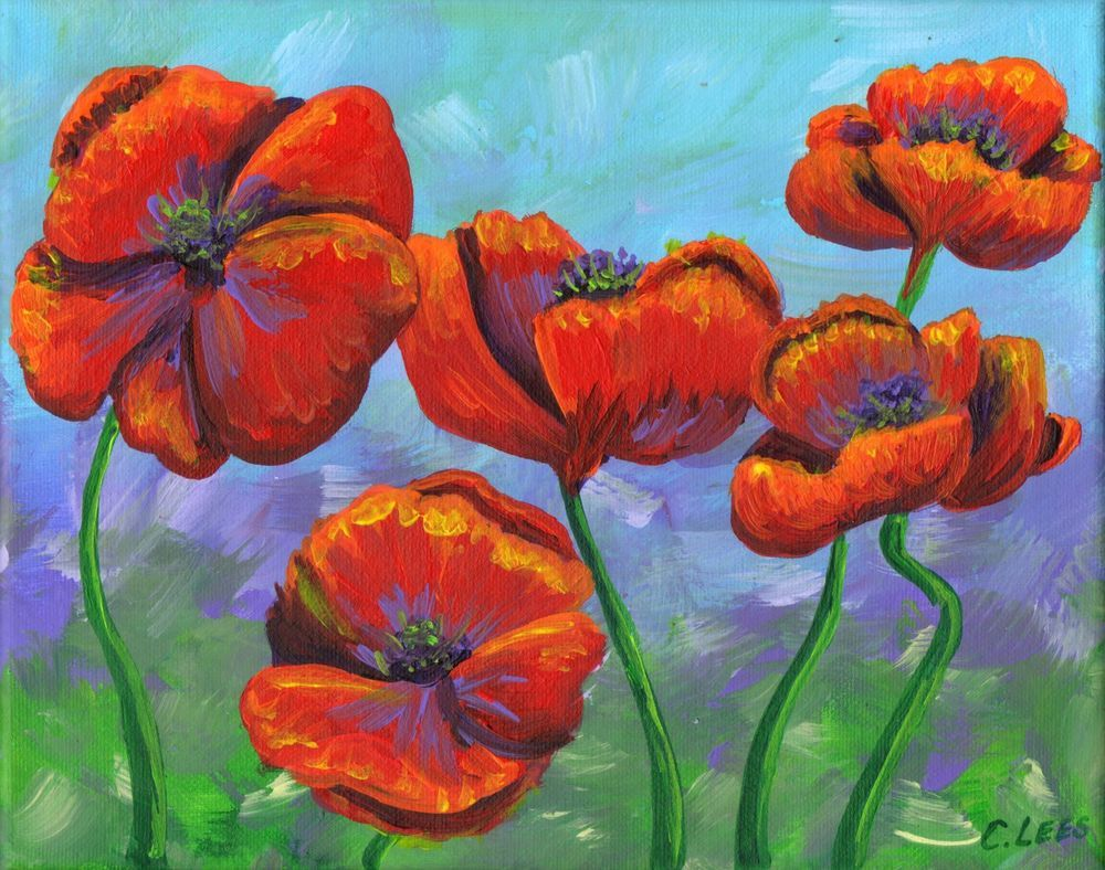 8x10 Original Acrylic Painting Poppy Flowers Art On Stretched