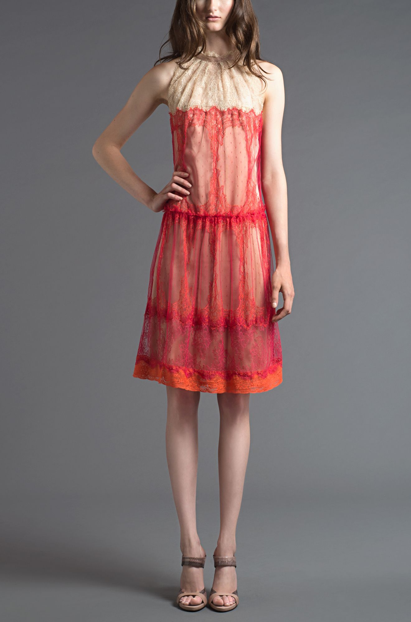 Alberta Ferretti - lace dress with Victorian collar